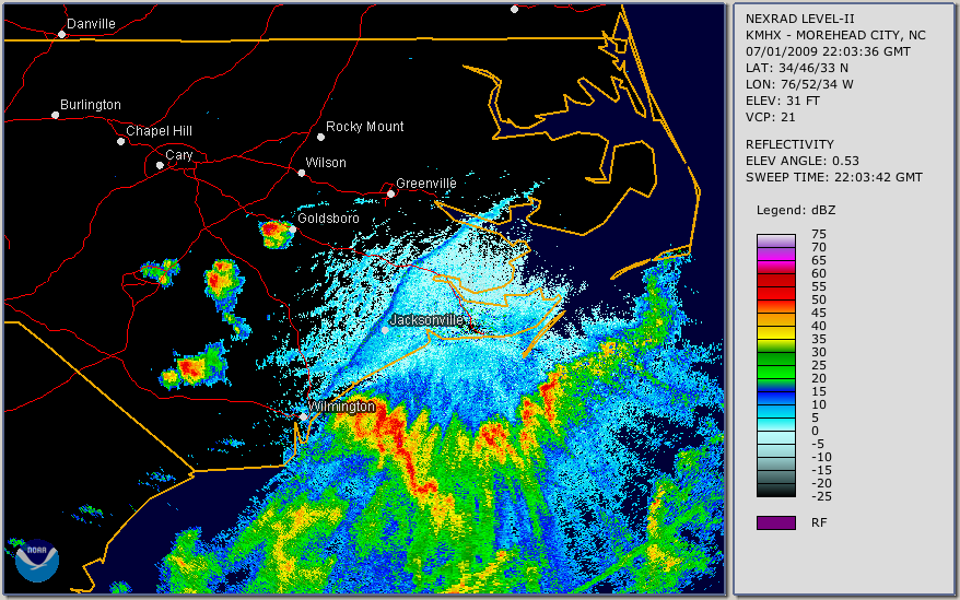 Visible sea breeze front on radar reflectivity.