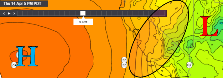 Surface Pressure forecast for 5pm Thursday April 14, 2016 highlighting strong pressure gradient over Southern California.